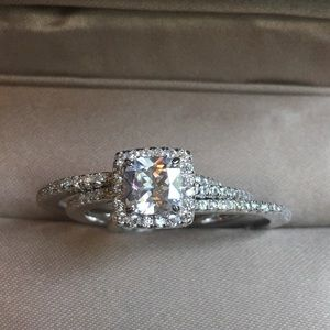Used, 3pcs Solid Silver Engagement Ring Wedding Band SetBoutique for sale